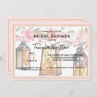 Rustic Romance Lanterns Rose Gold Bridal Shower Invitations