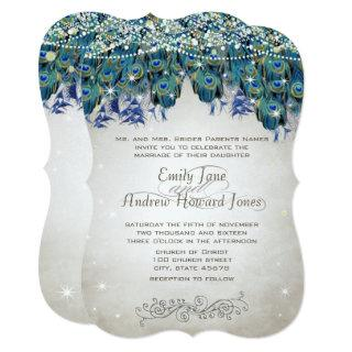 Rustic Romantic Peacock Teal Turquoise Peacock Invitations