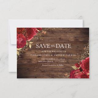 Rustic Romantic Red Roses Gold Floral Wedding Save The Date