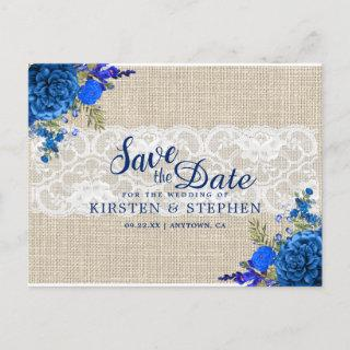 Rustic Royal Blue Floral Burlap Save the Date Announcement Postcard