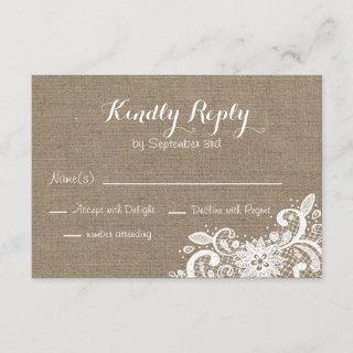 Rustic RSVP in Burlap and Lace