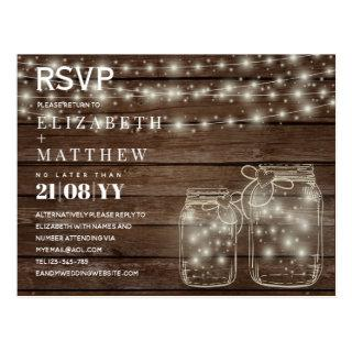 RUSTIC RSVP Mason Jars Strings Lights Budget Postcard