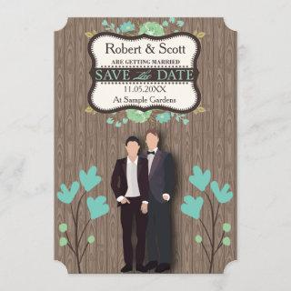 Rustic Save the Date, Two Grooms Save The Date
