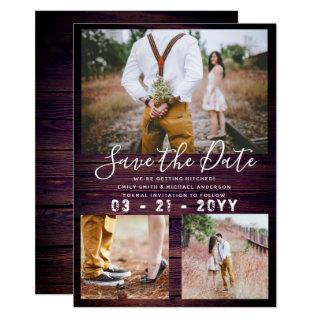 RUSTIC Save the Date Wedding PHOTO COLLAGE Purple Invitations
