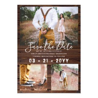 RUSTIC Save the Date Wedding PHOTO COLLAGE - Wood Invitations