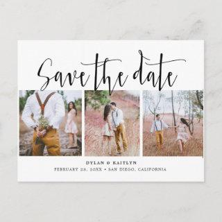 Rustic Script Three Photos Save the Date Postcard