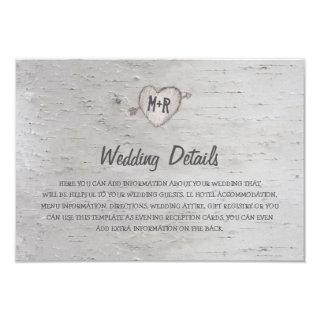 Rustic Silver Birch Tree Wedding Details Invitations