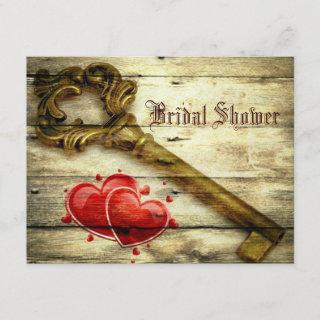 rustic skeleton key victorian steampunk wedding Invitations