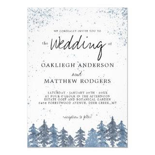 Rustic Snowy Winter Forest Wedding Invitation