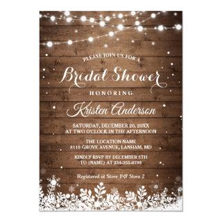 Rustic String Light Snowflake Winter Bridal Shower Invitations