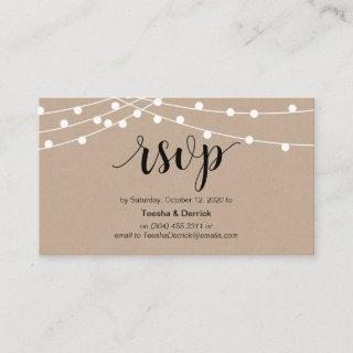 Rustic String Lights, Black Script, Wedding RSVP Enclosure Card