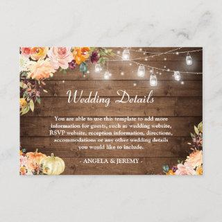 Rustic String Lights Floral Autumn Wedding Details Enclosure Card