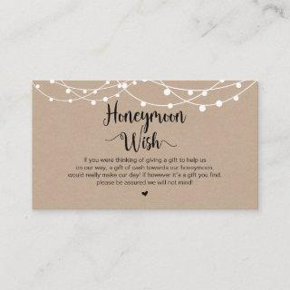 Rustic String Lights, Kraft, Honeymoon Wish Enclosure Card
