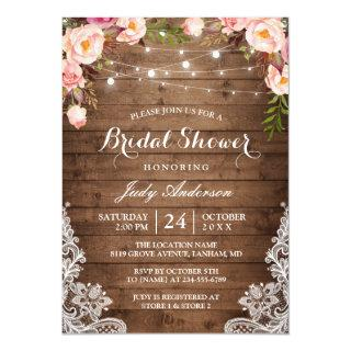 Rustic String Lights Lace Floral Bridal Shower Invitations