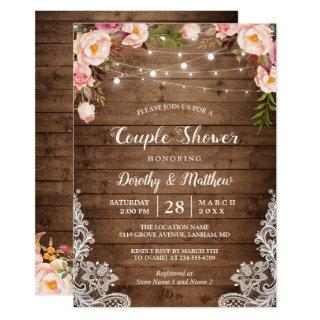 Rustic String Lights Lace Floral Couple's Shower Invitations