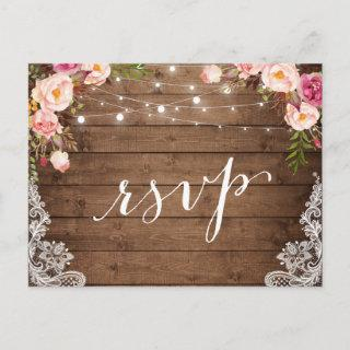 Rustic String Lights Lace Floral Farm Wedding RSVP Invitations Postcard