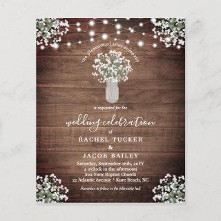 Rustic String Lights Mason Jar Wedding Invitations