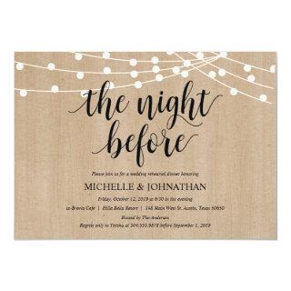 Rustic String Lights Rehearsal Dinner Invites