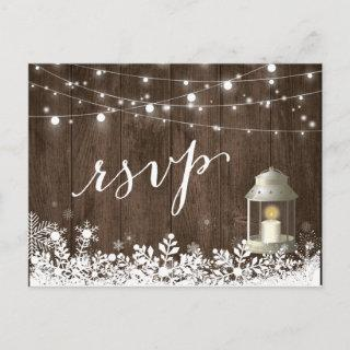 Rustic String Lights Snowflakes Wedding RSVP Invitations Postcard
