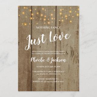Rustic String Lights Wedding Elopement Party Invitation