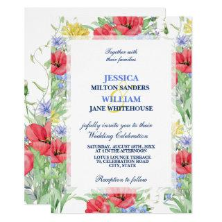 Rustic Summer Colorful Wildflowers Wedding Invitations