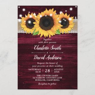 Rustic Sunflower and Burgundy Wedding Invitations