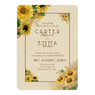 Rustic Sunflower and Lace Beige Country Wedding Invitations