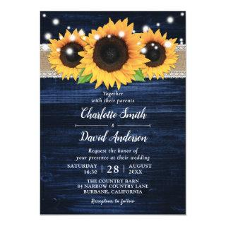Rustic Sunflower and Navy Blue Wedding Invitations