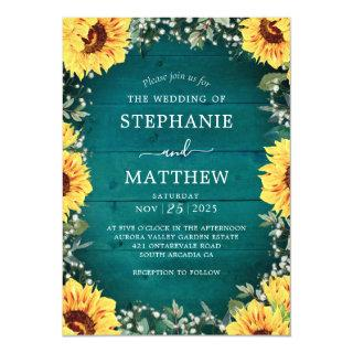 Rustic Sunflower Babys Breath Border Teal Wedding Invitation