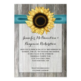 Rustic Sunflower Barn Wood Teal Ribbon Invitation