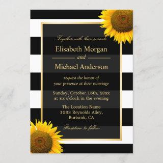 Rustic Sunflower Black and White Striped Wedding Invitations