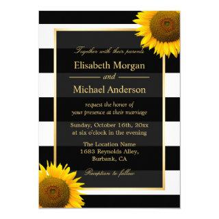 Rustic Sunflower Black and White Striped Wedding Invitation