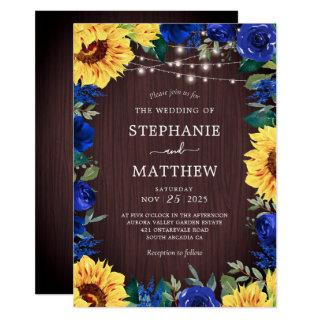 Rustic Sunflower Blue Floral Lights Wedding Invitations