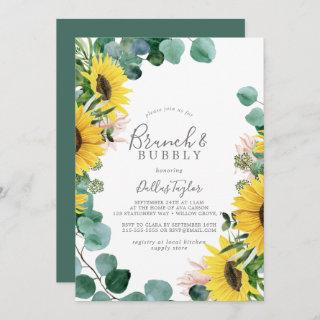Rustic Sunflower Brunch and Bubbly Bridal Shower Invitations