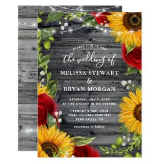 Rustic Sunflower Burgundy Red Rose Wood Wedding Invitations