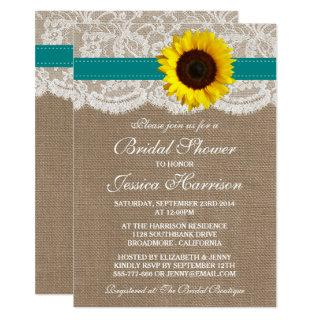 Rustic Sunflower, Burlap & Lace Bridal Shower Invitations