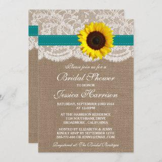 Rustic Sunflower, Burlap & Lace Bridal Shower Invitation