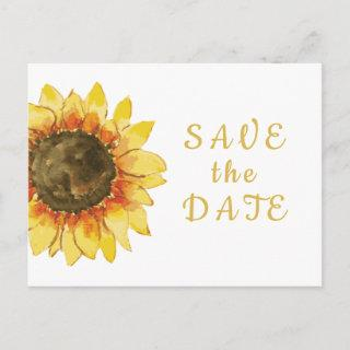 Rustic sunflower. Country wedding  Save the Date Invitation Postcard