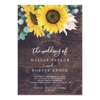 Rustic Sunflower Eucalyptus | Wood The Wedding Of Invitation