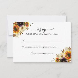 Rustic Sunflower Floral Autumn Fall Wedding RSVP
