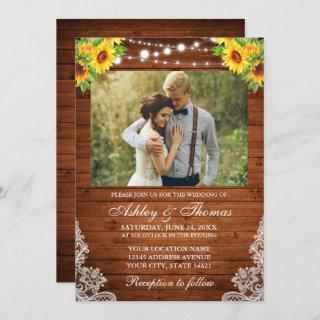 Rustic Sunflower Floral Wood String Lights Photo