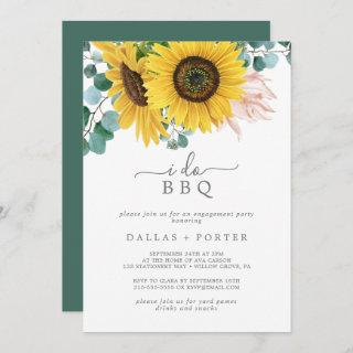 Rustic Sunflower I Do BBQ Engagement Party Invitations