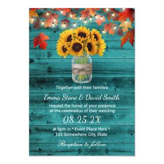 Rustic Sunflower Jar Teal Barn Wood Fall Wedding Invitation