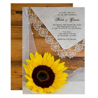 Rustic Sunflower Lace Country Wedding Invitations
