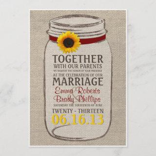 Rustic Sunflower & Mason Jar Wedding Invitation