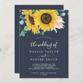 Rustic Sunflower   Navy All In One Wedding Invitation