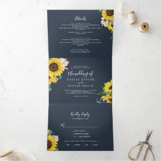Rustic Sunflower   Navy Photo Wedding All In One Tri-Fold Invitations