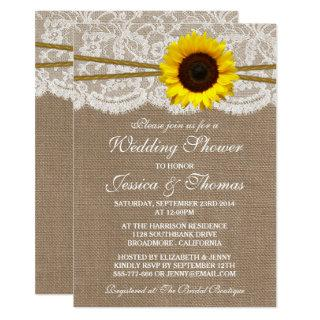 Rustic Sunflower On Burlap & Lace Wedding Shower Invitations