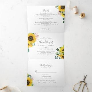 Rustic Sunflower Photo Wedding All In One Tri-Fold Invitation
