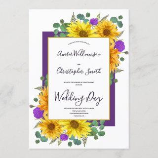 Rustic Sunflower Purple Roses Country Wedding